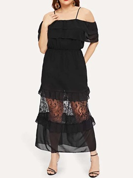 Plus Size Ankle-Length Patchwork Ruffle Sleeve Women's Dress