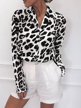 Plus Size Leopard Long Sleeve Women's Blouse