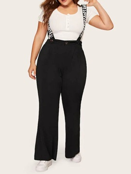 Plus Size Strap Fashion Letter Straight High Waist Women's Jumpsuit