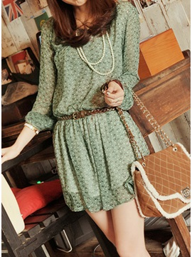 Deluxe Chiffon Lace Petty Flowers Slim Dress with Leather Belt