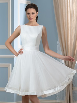 Casual Backless Sleeveless Bowknot Knee-Length Short Wedding Dress & Featured Sales for less