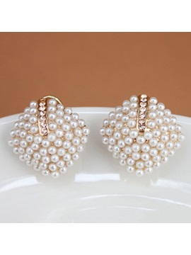 Pearl Decorated Square Shaped Earrings
