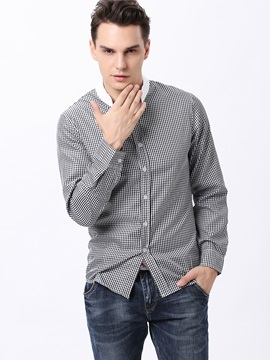 Slim-Fit Stand Collar Plaid Shirt