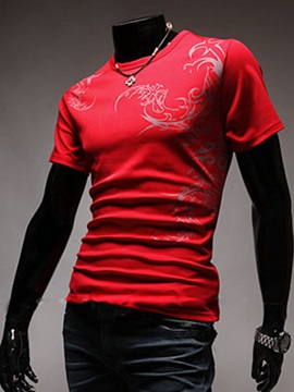 Round Neck Solid Color Printed Men's T-shirt