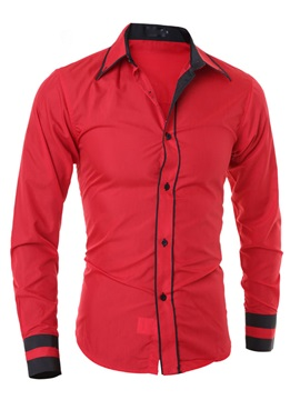 Men's Solid Color Double-Lined Cuff Block Shirts