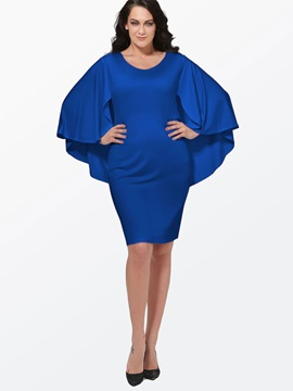 Solid Color Plus Size Women's Bodycon Cape Dress