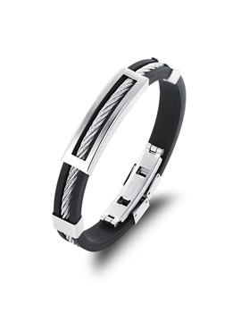 Square Titanium Steel Decorated Men's Bracelet