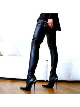 Black Stiletto Heel Thigh High Boots