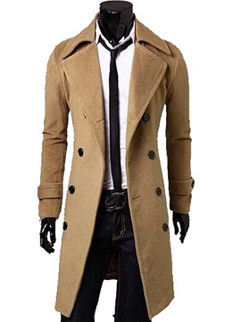 Tidebuy Solid Color Men's Double Breasted Trench Coat