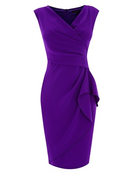 Chic Solid V Ruffled Bodycon Dress