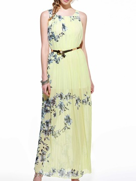 Floral Print Pleated Sleeveless Maxi Dress