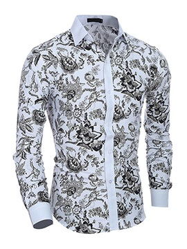 Men's Casual Floral Printed Shirt