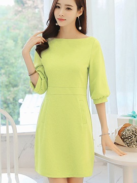 Plain Lantern Sleeve Women's Day Dress