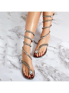 Snake Shaped Rhinestone Roman Sandals