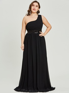 One Shoulder Pleats Sequins Black Evening Dress & Featured Sales for less