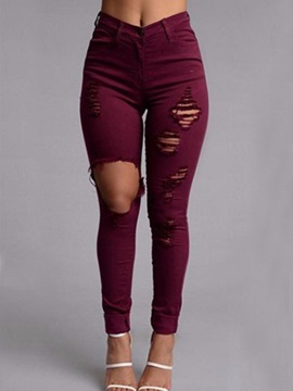 Red Ripped Worn-Out Boyfriend Jeans
