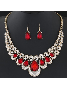Shining Rhinestones Water Drop Gemstones Wedding Jewelry Sets