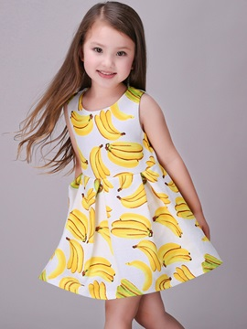 Banana Printing Pleated Girl's Dress