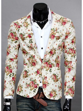 Floral Print Notched Lapel Men's Casual Blazer