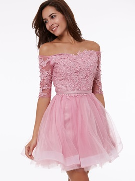Off the Shoulder Half Sleeves A-Line Appliques Homecoming Dress & Featured Sales under 300