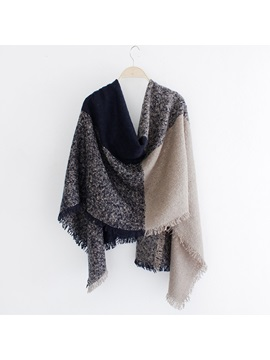 Four Color Square Block Design Scarf/Shawl
