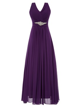 V-Neck Pleats A-Line Pleats Beading Evening Dress