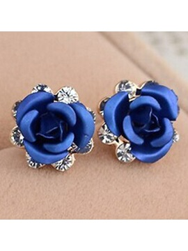 Rose Diamante Stud Earrings