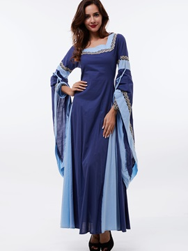 Square Neck Batwing Sleeve Pleated Maxi Dress
