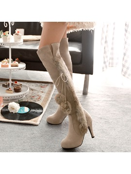 PU Sip-On 3D High Heel Women's Knee High Boots
