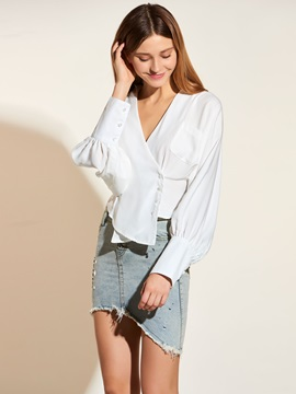Stylish Asymmetric Hem Loose Blouse