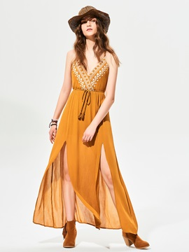 Chic V-Neck Geometric Pattern Embroidery Maxi Dress