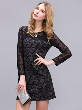 Nice Solid Color Long Sleeve Lace Dress