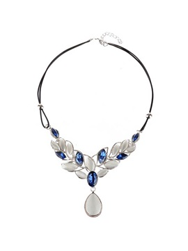 Double Layers Leather Rope Opal Leaf Design Necklace