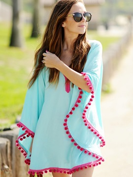 Simple V-Neck Plain Cover-Up