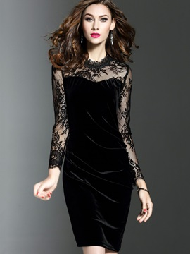 Round Neck Long Sleeve Women's Bodycon Dress