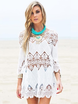 Hollow Embroidery Half Sleeve Beach Cover-Up