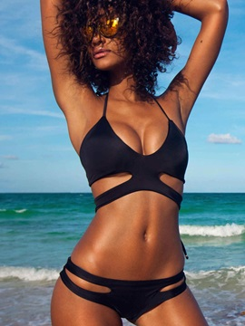 Black Hollow Bikini Set Swimwear