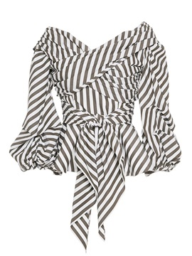 Tie Front Slash Neck Stripe Pleated Blouse
