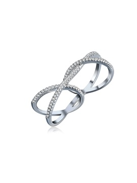 Silver Diamante Cross Simple Conjoined Rings