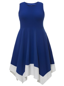 Asymmetrical Color Block Sleeveless Plus Size Women's Skater Dress