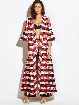 Stylish Stripe Print Long Trench Coat