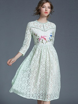 Chic Round Neck Long Sleeve Lace Dress