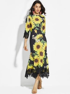 Round Neck Sunflower Print Women's Maxi Dress