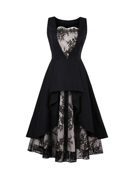 Lace Patchwork Tiered Women's Dress