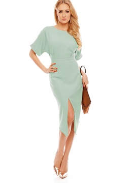 Chic Solid Color Short Sleeve Women's Bodycon Dress