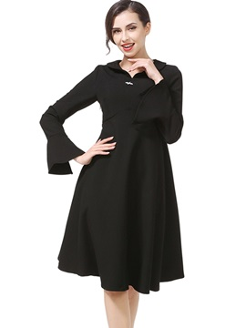 Black Long Sleeve Round Neck Skater Dress