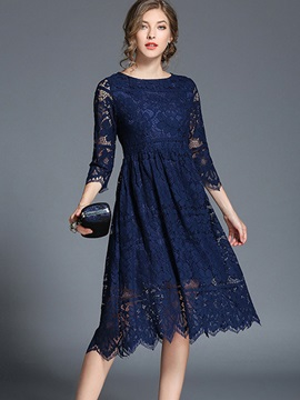 Solid Color Round Neck Women's Lace Dress