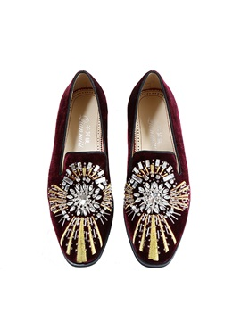 Faux Suede Embroidery Rhinestone Men's Dress Shoes