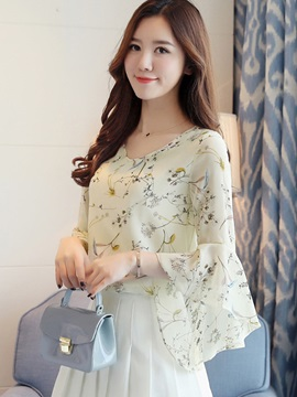 Elegant Chiffon Floral Bell Sleeve Blouse