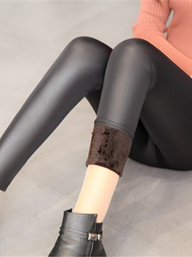 Slim Thick Warm Stretchy Leather Women's Pencil Pants